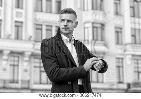 Whats The Time. Businessman Check Watch Outdoors. Handsome Businessman Hurry To Business Meeting. El