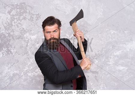 Brutal Business. Man With Axe. Bearded Man Hold Axe. Cutting Concept. Sharp Blade. Brutality And Mas