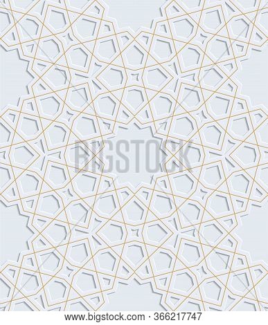 Embossed Ornament. Arabic Pattern. Gray With Gold Vector
