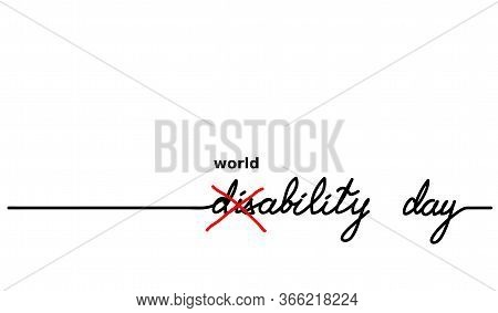 World Disability Day. Cross Out Disability Text Became Ability Word. Simple Vector Background With Q