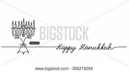 Happy Hanukkah Menorah Vector Background With Lettering Happy Hanukkah And Copy Space. One Continuou
