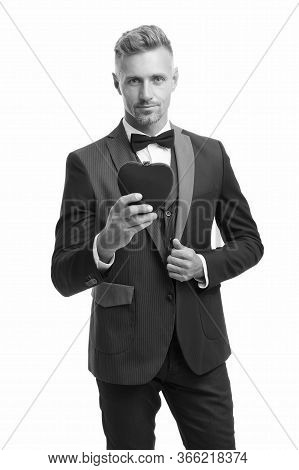 Ready For Romantic Date. Special Occasion Evening. Elegant Confident Man Isolated On White. Business