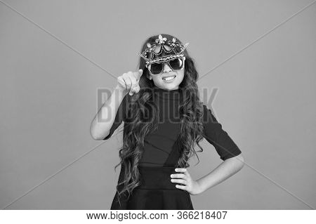 Make Yourself Proud. Proud Girl Point Finger With Pride. Small Child Wear Prop Crown And Glasses. Li
