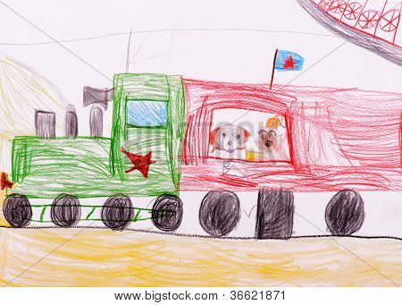 poster of children's drawing. Dogs traveling by train