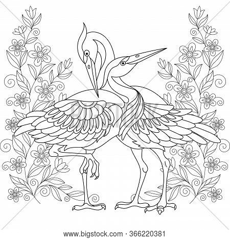 Coloring Page. Beautiful Crane Birds Among Flowers. Line Art Design For Adult Colouring Book With Do