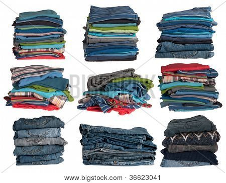 Clothes stacks isolated on white background