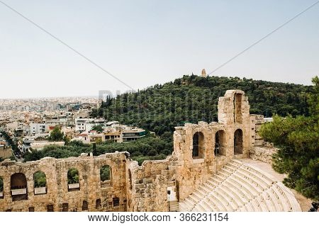 View From Above To Dionysus Theatre Below The Acropolis In Athens, Greece, Which Is Considered To Be
