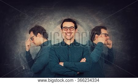 Contented Man Well Hiding His Inner Personality. Guy Suffers Split Emotions Into Different Inner Per