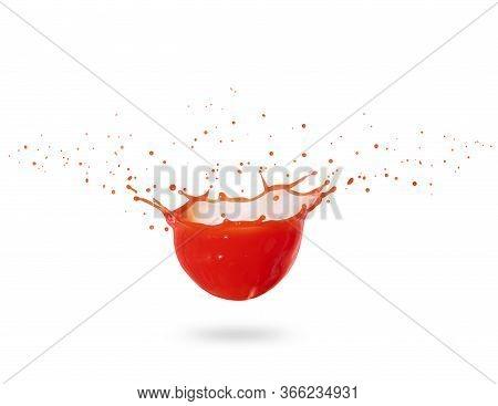 Splashes Of Fresh Red Juice Isolated On White Background