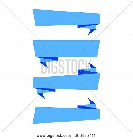 Ribbons Banners. Blue Ribbons Banners Isolated On White Background. Collection Of Four Ribbon Banner