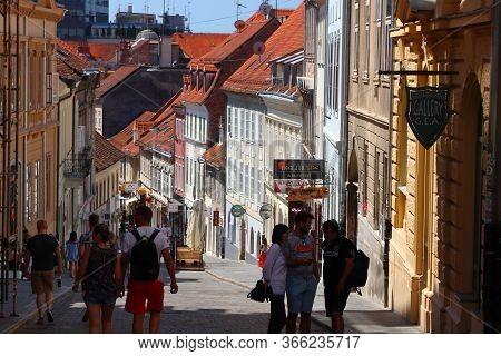 Zagreb, Croatia - June 30, 2019: People Visit Old Town Street In Zagreb, Capital City Of Croatia. Za