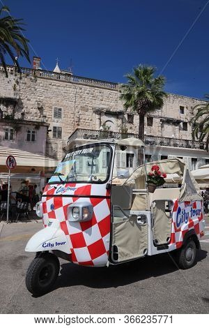 Split, Croatia - July 20, 2019: Bizarre City Tour Trike Motorbike Taxi In Split. Croatia Had 18.4 Mi