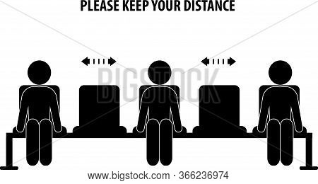 Social Distancing Sign, Keep Distance When Sitting In A Chair, Clip Art,icon