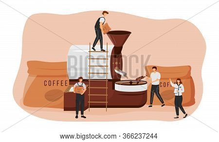 Roasting Coffee Beans Flat Concept Vector Illustration. Barista 2d Cartoon Characters For Web Design