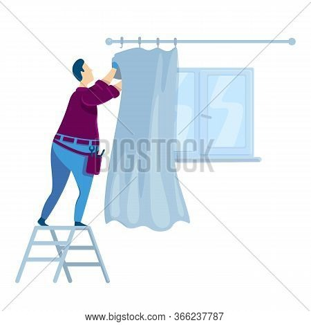 Handyperson Flat Color Vector Faceless Character. Man Hanging Curtains. Guy Near Window With Drapery