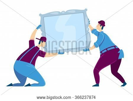 Hanging Mirror Flat Color Vector Faceless Characters. Professional Workers. House Improvement Help S