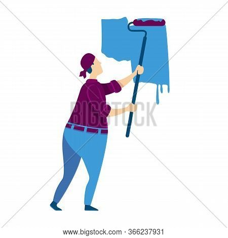 Wall Painting Flat Color Vector Faceless Character. Craftsman With Roller. Handyman Putting On Blue