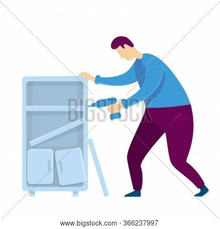 Handyworker Flat Color Vector Faceless Character. Man Repairs Cabinet. Guy Put On Shelves. Male Asse