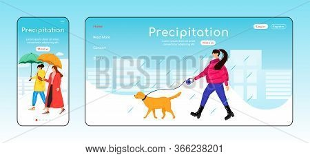 Precipitation Landing Page Flat Color Vector Template. Mobile Display. Lady Walking Dog Homepage Lay