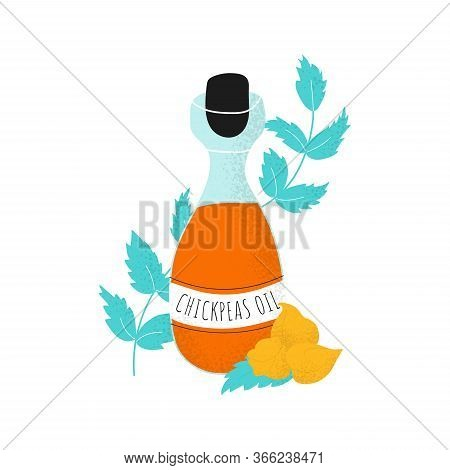 Glass Bottle With Chickpeas Oil And Leaf. Gram Or Chickpea Liquid In Scandinavian Vector Style. Heal