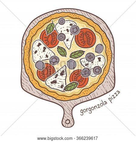 Gorgonzola Pizza With Tomato And Gorgonsola And Basil, Sketching Illustration