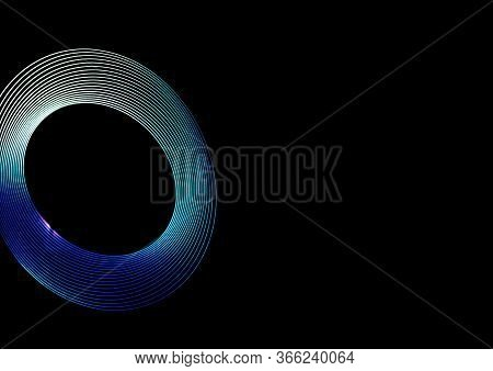 Abstract Spiral Light. Freezelight Neon Tunnel. Isolated. Light Abstract Forms Symmetrical Round