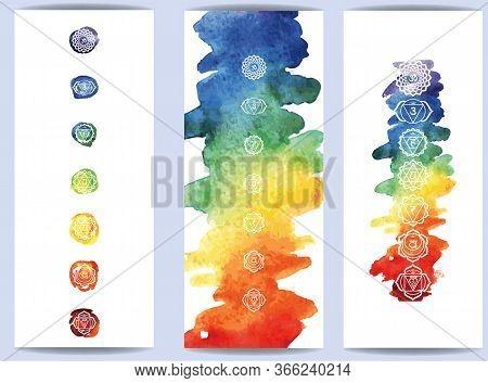 Hakras Symbol On Color Watercolor Background Template For Yoga Mats, Spiritual Retreat Or Yoga Studi