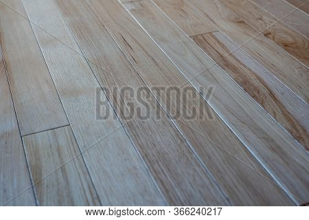 Gorgeous Natural Hickory Wooden Floor Panels Captured By Angled View. Solid Wood Boards With Varied