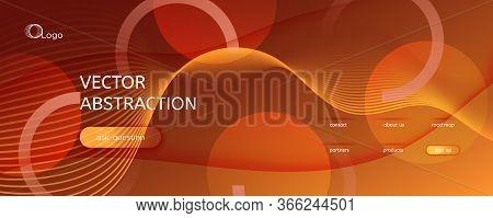 Vector Fluid Flow. Yellow Geometric Background. 3d Abstract Shape. Minimal Poster. Orange Fluid Flow