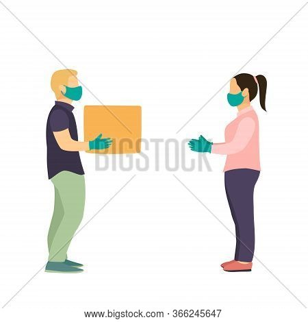 Delivery Man Full Side View, Uniform Face Medical Mask, Gloves Hold Cardboard Box. Service Coronavir
