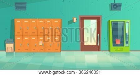 School Hallway, Empty Corridor Interior With Lockers, Vending Machine, Closed Door To Classroom And