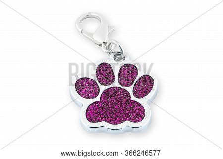 Closeup Dog Collar Metal Tag Shaped In Form Footprint Isolated On White Background. Footprint Clip C
