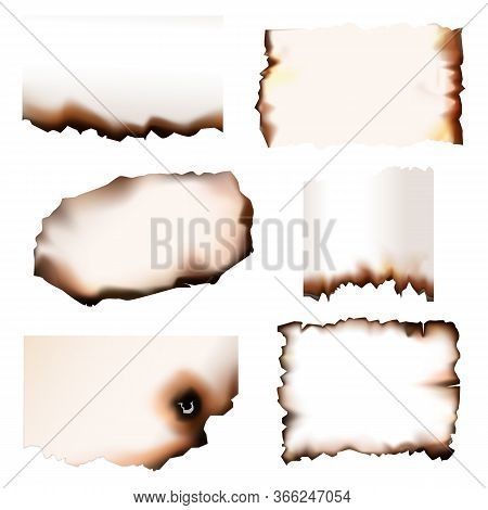 Burnt Paper With Burning Edges, Vector Set