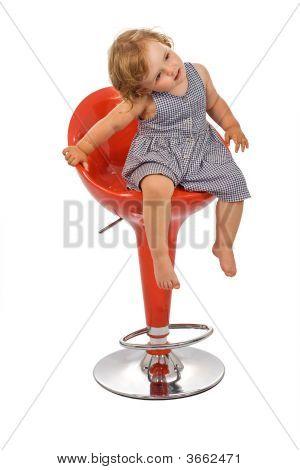 Little Girl On Bar Stool Posing - Isolated