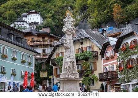 Hallstatt, Austria - October 6, 2019: View Of Hallstatt Village Square In High Alps Mountains, A  Fa