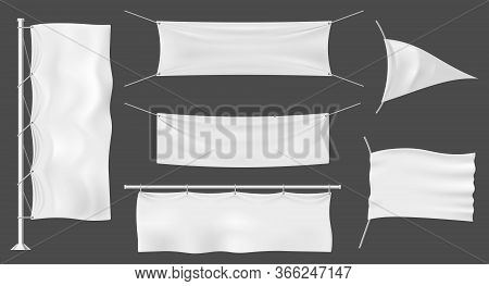 Flag Banners Or Outdoor Fabric Billboards, Mockup