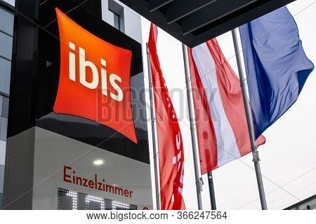 Vienna, Austria - October 8, 2019: View Of The Ibis Hotel Wien Hauptbahnhof Sign, An International H