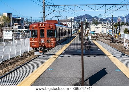 Yamanashi, Japan - March 24, 2019 : View Of The Old Local Retro Train Coming In The Morning At Mt. F