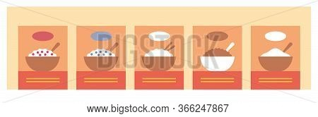 Supermarket Shelf With Cereals. Grocery Store Banner Or Background. Healthy Food.
