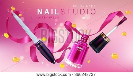Manicure Studio Brand Poster. Vector Realistic Nail Polish In Open Glass Bottle, Brush With Pink Lac