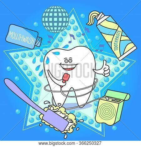 Cute Cartoon Tooth With A Floss, Toothbrush, Toothpaste, And Mouthwash On Blue Background.  Fun Dent