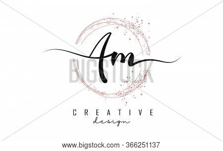 Handwritten Am A M Letters Logo With Dust Pink Sparkling Circles And Glitter. Decorative Shiny Vecto