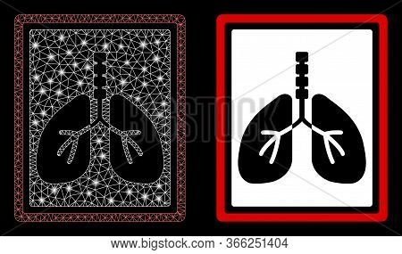 Bright Mesh Lungs X-ray Photo With Glare Effect. Abstract Illuminated Model Based On Lungs X-ray Pho