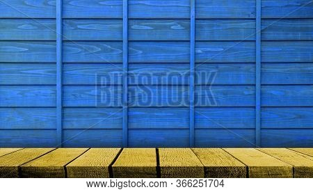Yellow Wooden Display Board Shelf Table Counter With Copy Space For Advertising Backdrop And Backgro