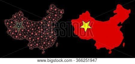Bright Mesh China Map With Glare Effect. Abstract Illuminated Model Based On China Map Icon. Shiny W