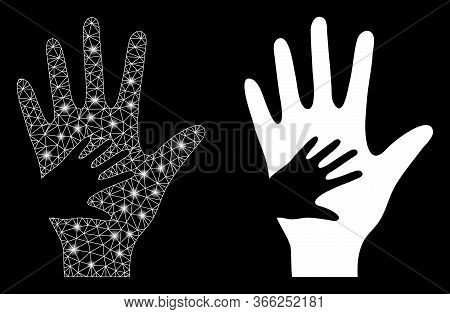 Bright Mesh Help Hand With Glow Effect. Abstract Illuminated Model Based On Help Hand Icon. Shiny Wi