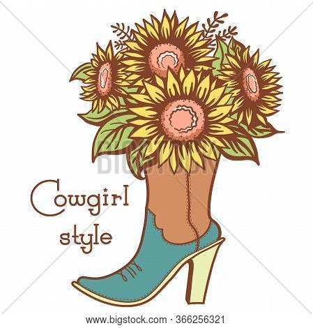 Cowgirl Boot With Floral Bouquette And Text. Ladies Cowboy Color Vector Boot Illustration With Flowe