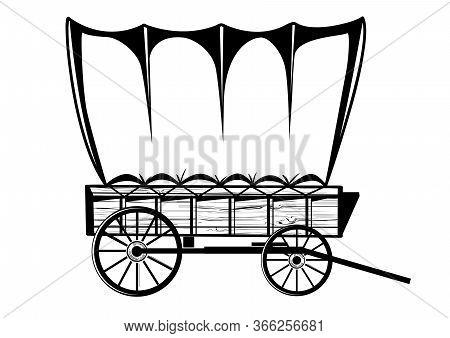 Wild West Wagon. Vector Western Illustration