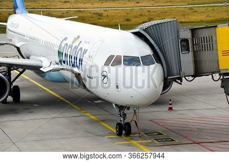 Leipzig, Germany - July 13, 2016: An Airbus A321 Aircraft Of The Airline Condor Is Ready For Take-of