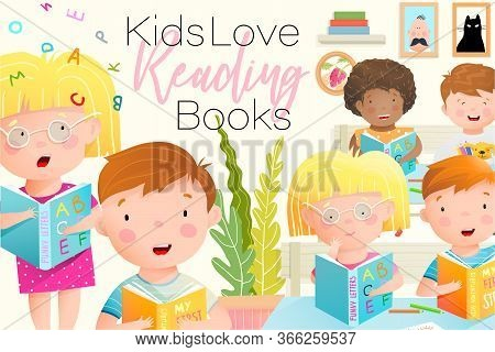 Children In The Classroom Reading Book Funny And Colorful Background Design. Kids Love Reading Books